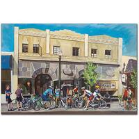 Colleen Proppe 'Cyclists at Roasters' Canvas Art