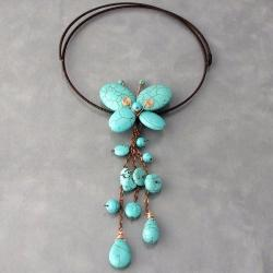Handmade Butterfly Dangle Turquoise Choker Wrap Necklace (Thailand)