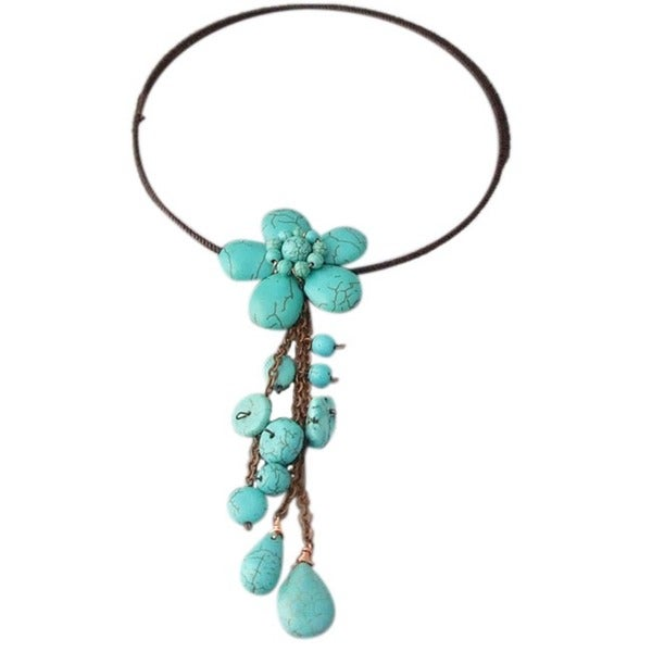 Wire Wrap Reconstructed Turquoise Flower Dangle Choker (Thailand)