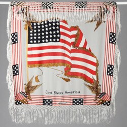 US Flag Embroidered Velvet/ Silk Shawl