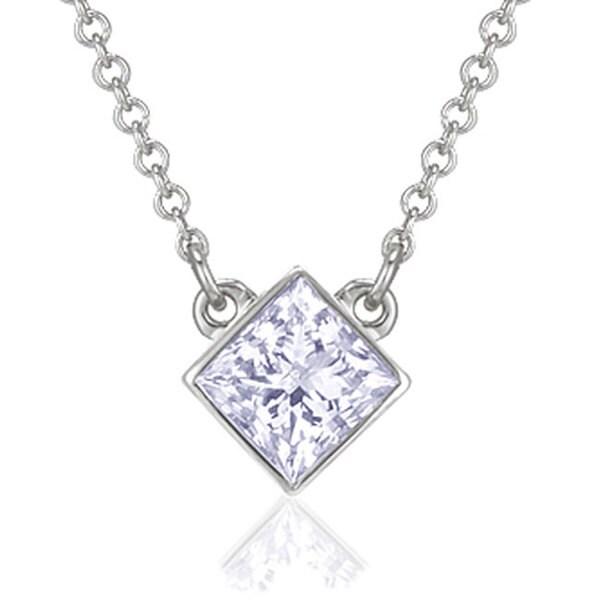Montebello 14k Gold 1/3ct TDW Princess-cut Diamond Solitaire Necklace (H-I, I1)
