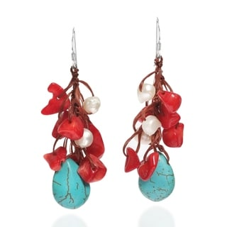Dangle Turquoise Synthetic Coral Pearl .925 Silver Earrings (Thailand)