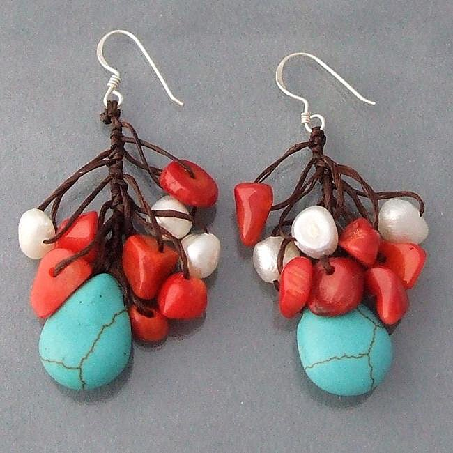Handmade Silver Dangle Turquoise/ Coral/ Pearl Cluster Earrings (Thailand)