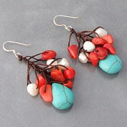 Handmade Silver Dangle Turquoise/ Coral/ Pearl Cluster Earrings (Thailand) - Thumbnail 1