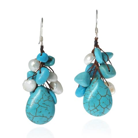 Handmade Dangle Cluster Turquoise White Pearl .925 Silver Earrings (Thailand)