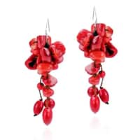 Cluster Drop Synthetic Coral .925 Silver Earring (Thailand)