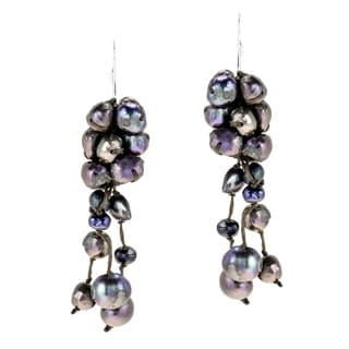 Sterling Silver Black Pearl Cluster Drop Earrings (Thailand)