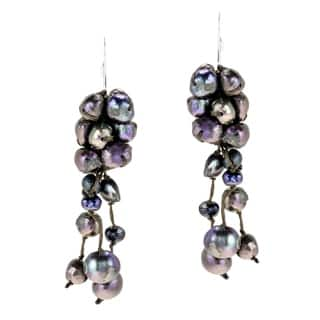 Handmade Sterling Silver Black Pearl Cluster Drop Earrings (Thailand)|https://ak1.ostkcdn.com/images/products/5132185/P12978726.jpg?impolicy=medium