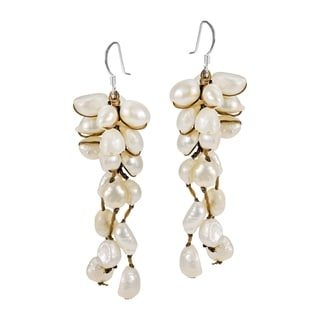 Sterling Silver White Pearl Cluster Drop Earrings (Thailand)