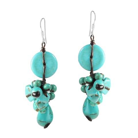 Handmade Sterling Silver Turquoise Cluster Dangle Earrings (Thailand)