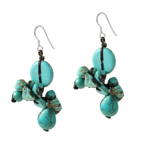 Handmade Sterling Silver Turquoise Cluster Drop Earrings (Thailand)