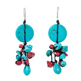 Handmade Sterling Silver Turquoise/ Coral Drop Earrings (Thailand)