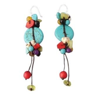 SterlingSilver Turquoise/ Multistone Handmade Drop Earrings (Thailand)