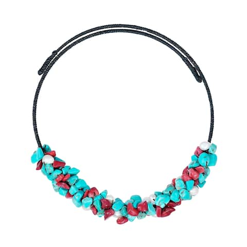 Handmade Lovely Turquoise/Synthetic Coral/Pearl Choker Wire Necklace (Thailand)