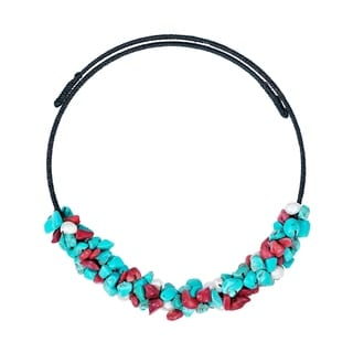 Turquoise/ Coral/ Pearl Wire Wrap Choker Necklace (Thailand)