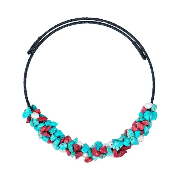 Handmade Turquoise/ Coral/ Pearl Wire Wrap Choker Necklace (Thailand)