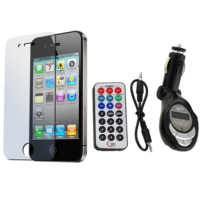 FM Transmitter/ LCD Protector for Apple iPhone 4