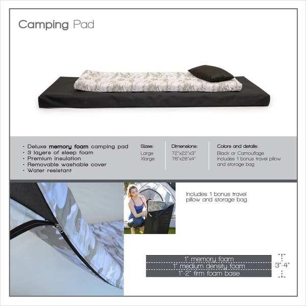 extra large rollngo memory foam orthopedic camping sleeping pad free shipping today