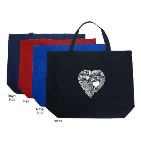 Los Angeles Pop Art Large Heart Shopping Tote
