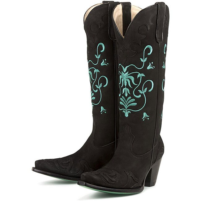 Black And Teal Cowgirl Boots - Boot Hto