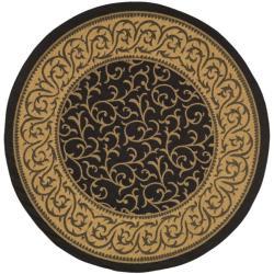 """Safavieh Courtyard Scrollwork Black/ Natural Indoor/ Outdoor Rug (6'7"""" Round)"""