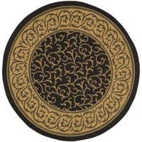 "Safavieh Courtyard Scrollwork Black/ Natural Indoor/ Outdoor Rug - 6'7"" x 6'7"" round"