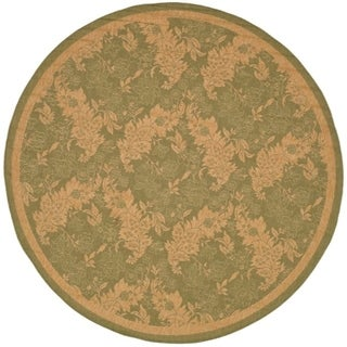 "Safavieh Courtyard Divine Green/ Natural Indoor/ Outdoor Rug (6'7"" Round)"