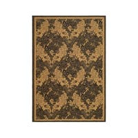 "Safavieh Courtyard Divine Black/ Natural Indoor/ Outdoor Rug - 6'7"" x 9'6"""