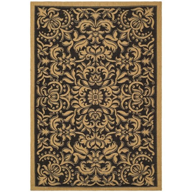 """Safavieh Courtyard Graceful Black/ Natural Indoor/ Outdoor Rug (4' x 5'7"""")"""