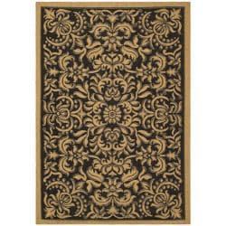 """Safavieh Indoor/Outdoor Black/Natural Area Rug (4' x 5'7"""")"""