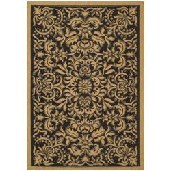 Safavieh Courtyard Graceful Black/ Natural Indoor/ Outdoor Rug (5'3 x 7'7)