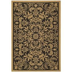 Safavieh Indoor/ Outdoor Black/ Natural Rug (6'7 x 9'6)