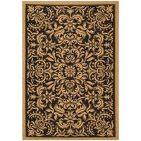 "Safavieh Courtyard Graceful Black/ Natural Indoor/ Outdoor Rug - 6'7"" x 9'6"""