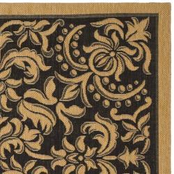 Safavieh Courtyard Graceful Black/ Natural Indoor/ Outdoor Rug (8' x 11') - Thumbnail 1