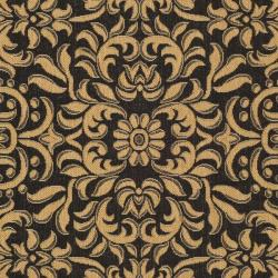 Safavieh Courtyard Graceful Black/ Natural Indoor/ Outdoor Rug (8' x 11') - Thumbnail 2