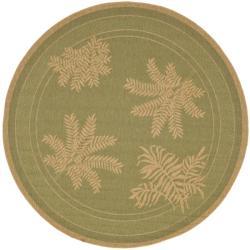 Safavieh Courtyard Ferns Green/ Natural Indoor/ Outdoor Rug (6'7 Round)