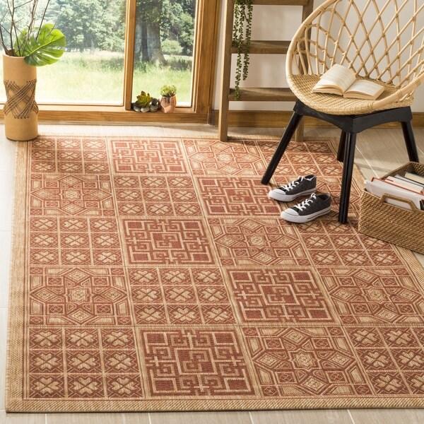 Safavieh Indoor/ Outdoor Natural/ Brick Red Rug - 4' x 5'7