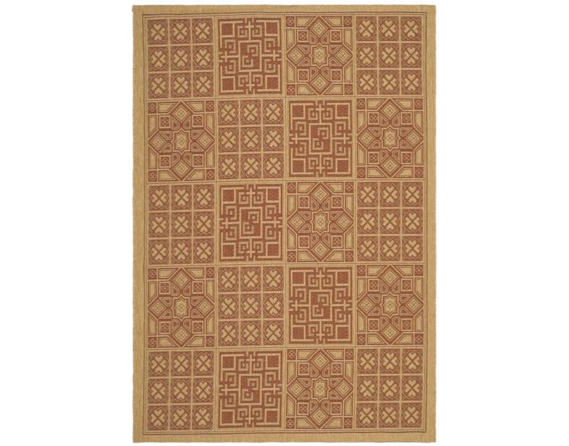 Safavieh Indoor/ Outdoor Natural/ Brick Red Rug (8' x 11') - Thumbnail 0