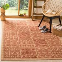 Safavieh Indoor/ Outdoor Natural/ Brick Red Rug - 7'10' x 11'