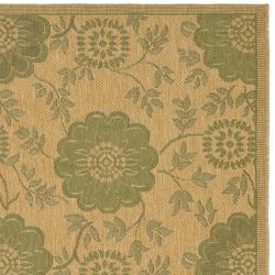 Safavieh Indoor/ Outdoor Natural/Green Area Rug (4' x 5'7) - Thumbnail 1