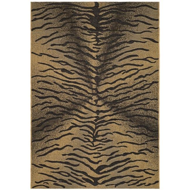 Shop Safavieh Indoor Outdoor Black Natural Synthetic Fiber Rug 6 7