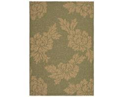 "Safavieh Indoor/ Outdoor Green/ Natural Floral Rug (5' 3"" x 7' 7"")"