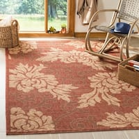Safavieh Indoor/ Outdoor Brick Red/ Natural Rug - 8' x 11'