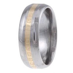 Men's Tungsten 14k Gold Greek Key Detail Band (7.5 mm) - Thumbnail 1