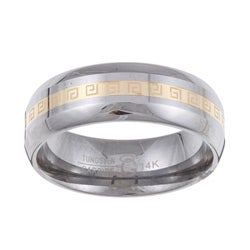 Men's Tungsten 14k Gold Greek Key Detail Band (7.5 mm)