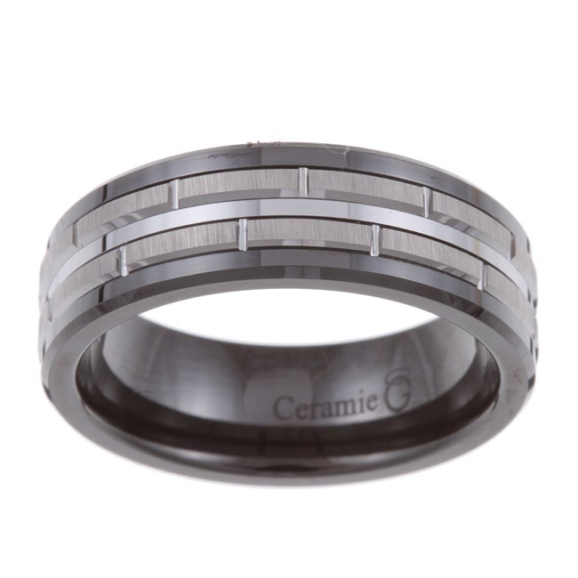 Men's Tungsten Black Ceramic and  Band (7.5 mm) - Thumbnail 0