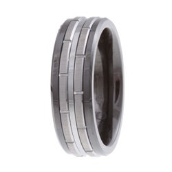 Men's Tungsten Black Ceramic and  Band (7.5 mm) - Thumbnail 1