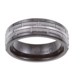Men's Tungsten Black Ceramic and Band (7.5 mm)