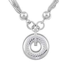 Stainless Steel Multi-chain Polished and Satin Circle Necklace
