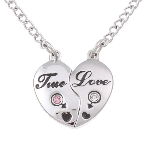 Stainless Steel Cubic Zirconia Two-piece Magnetic Heart Necklace